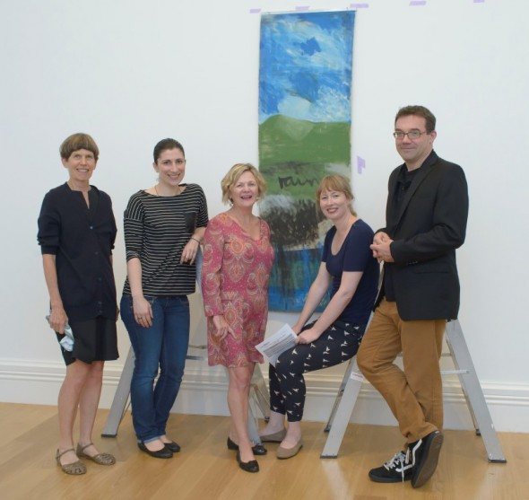 Painting conservator Sarah Hillary, painting conservator Tijana Cvetkovic, curator Caroline McBride, curator Catherine Hammond and conservation scientist Tom Learner. Image courtesy of Auckland Art Gallery Toi o Tamaki