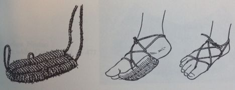 Diagram showing how Taka (reef sandals) are worn.