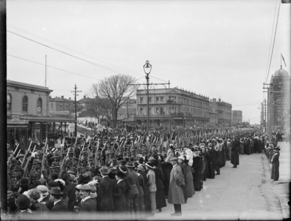 World War 1 troops on parade, Lambton Quay, Wellington. Dickie, John, 1869-1942 :Collection of postcards, prints and negatives. Ref: 1/4-017062-G. Alexander Turnbull Library, Wellington, New Zealand. http://natlib.govt.nz/records/23132369