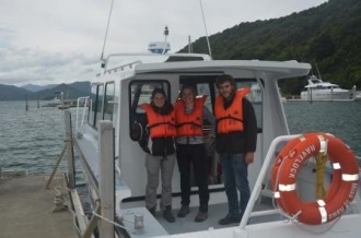 Motuara penguin crew for the first week of the Marlborough study, Blandine Jurie, Caroline Bost and Patrick Chevalier, on board the Dolphin Watch vessel before disembarking at the island. Image Caroline Bost, Copyright Caroline Bost.