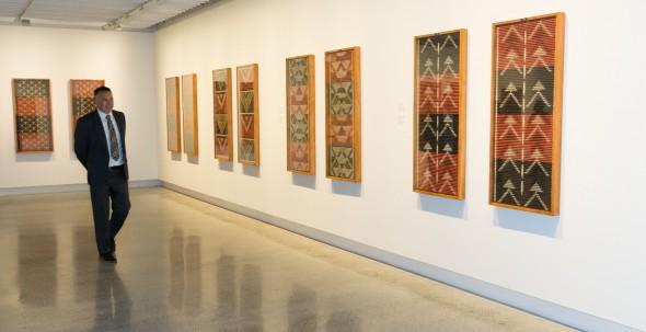 Tukutuku panels in the Kahui Raranga: The Art of tukutuku exhibition. Photographer: Norm Heke © Te Papa