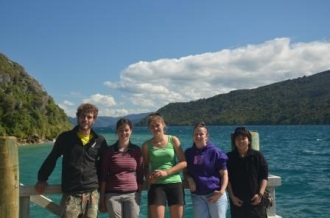 """Volunteer Exchange"" as helpers on the programme change over at the island. Left to Right: Patrick Chevalier, Blandine Jury, Caroline Boast, Clare Harden and Yukiko Shimada. Image Caroline Bost, Copyright Caroline Bost."