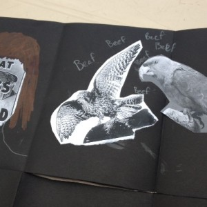 Close up of student's zine art work, Wellington College