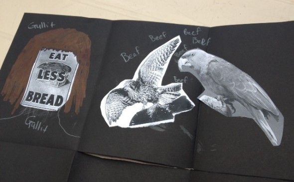 Close up of student's zine art work, Wellington College