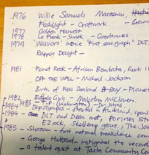 The original notes for DLT''s hip hop whakapapa