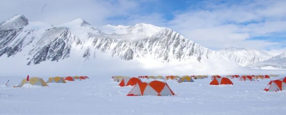 Rows of ANI staff tents below the imposing bulk of Mt Rossman. Image: Colin Miskelly