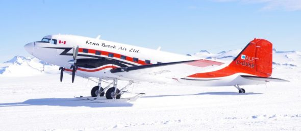 The Basler-converted DC3 on the ski-way at Union Glacier. Image: Colin Miskelly