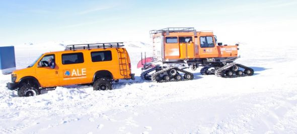 An inglorious end to the day. A Sno-Cat extracts our van from soft snow. Image: Colin Miskelly
