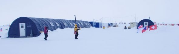The two main communal dining and meeting tents at Union Glacier. Image: Colin Miskelly