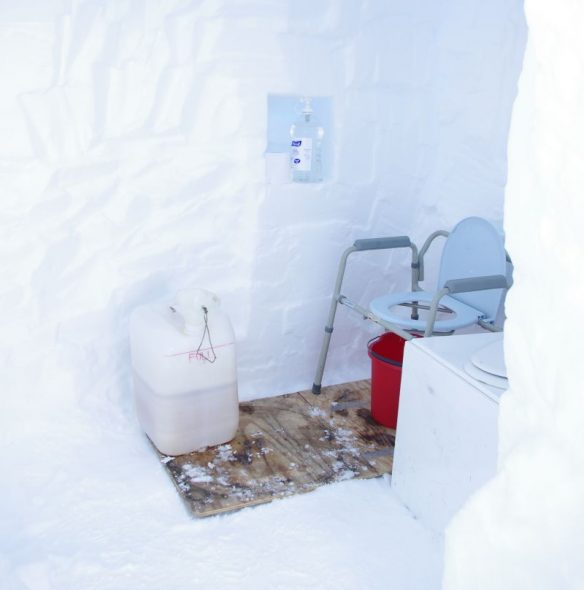 Gould Bay latrine. Note hand-sanitiser in alcove. Image: Colin Miskelly