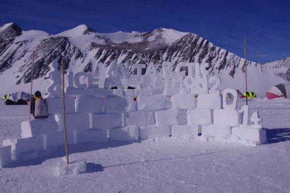 An ice sculpture welcomes marathon runners to Union Glacier. Image: Colin Miskelly