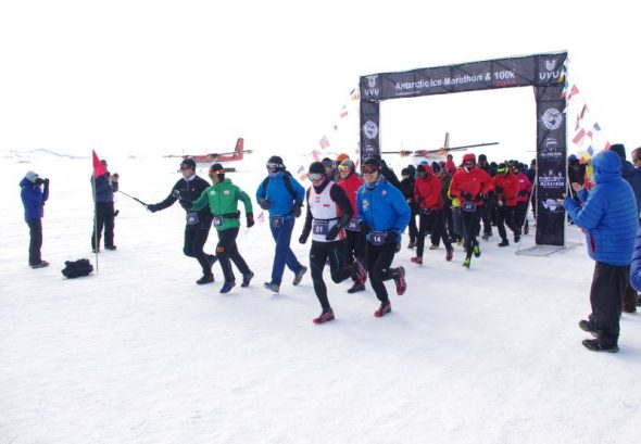 The 2014 Antarctic Ice Marathon runners leave the start line. Image: Colin Miskelly