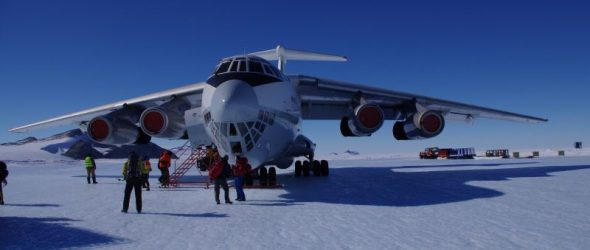 On the ground - or at least ice. The Ilyushin-76 on the Union Glacier blue-ice runway. Image: Colin Miskelly