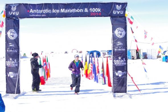 An ANI staff member completes the first lap of the marathon. Image: Colin Miskelly