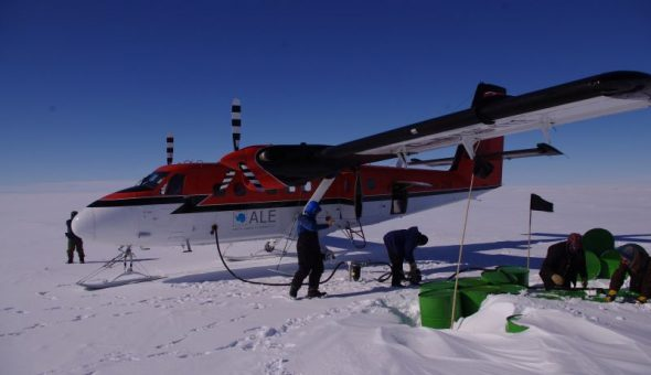 A Twin Otter being refuelled at South Berkner fuel cache, en route to Gould Bay. Image: Colin Miskelly