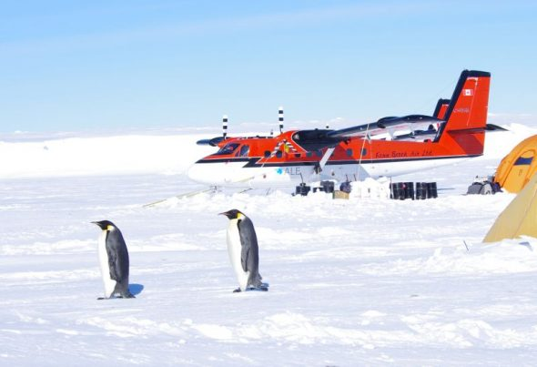 The two Twin Otters parked alongside the emperor penguin camp at Gould Bay. Image: Colin Miskelly