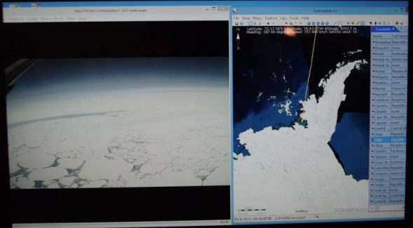 The Ilyushin cabin video screen showing sea-ice on the left and our southward progress near the base of the Antarctic Peninsula on the right. Image: Colin Miskelly