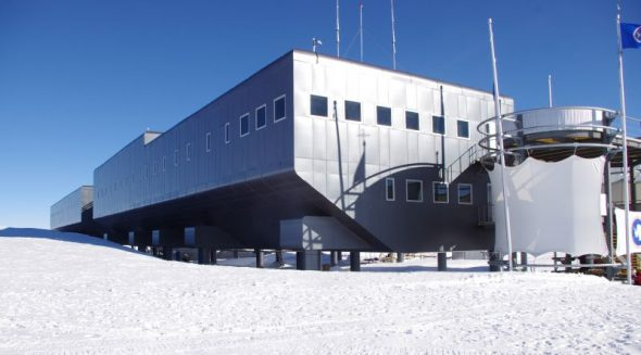Amundsen-Scott South Pole Station, situated alongside the Geographic South Pole. US Antarctic Research Program staff gave us a brief tour of the base and described some of the research underway there. Image: Colin Miskelly