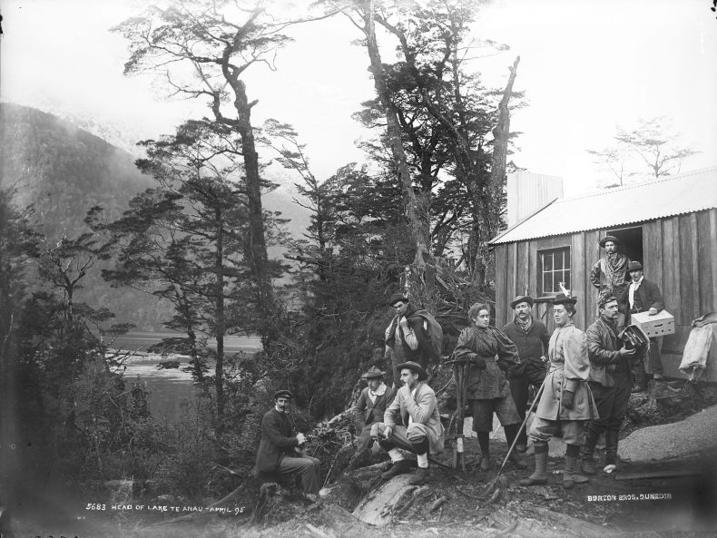 Burton Brothers studio, Head of Lake Te Anau, April 1895, gelatin silver glass negative, C.017344. Te Papa.