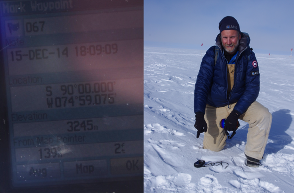 It's all north from here! The author points to a hand-held GPS positioned at the Geographical South Pole. Image: Colin Miskelly