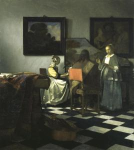 One of the stolen artworks. The Concert, Johannes Vermeer, c1664. Oil on canvas. Image source from Wikimedia Commons.