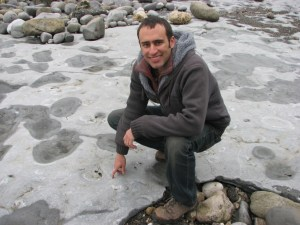 Steve at the famous Lyme Regis fossil site in England.