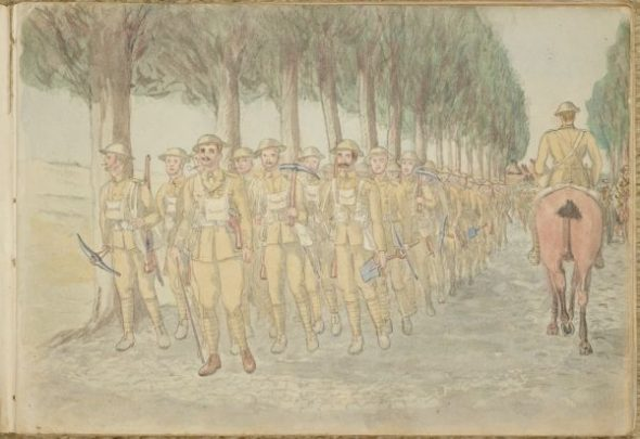 In 1918, Westmacott painted these Allied soldiers on the move behind the Western Front. Courtesy of Yvonne Riddiford