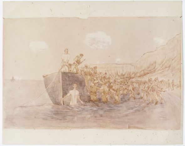 Westmacott later painted the Auckland Infantry Battalion landing at Anzac Cove on 25 April 1915. He described the scene in his memoir written 35 years later: 'A man stark naked was bathing in the sea. A stream of wounded was straggling down from the hills... The beach seemed sheltered and very quiet.' Courtesy of Alexander Turnbull Library (Micro-MS-847-2) and Yvonne Riddiford