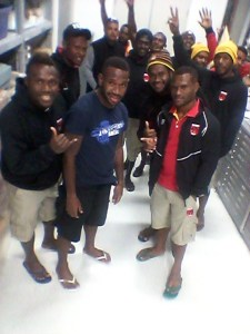 The Papua New Guinea Sevens team taking a bit of downtime during the Wellington Sevens tournament.