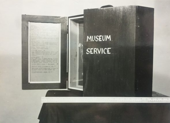 Dominion Museum Education Service School Case.  Black and white file print from negative MA_B.010164. Te Papa