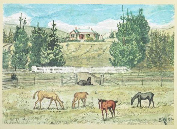 Westmacott painted this scene of his parents' farm at Waikakahi, South Canterbury, in 1908. He worked on the farm after leaving school. Courtesy of Waimate Historical Society