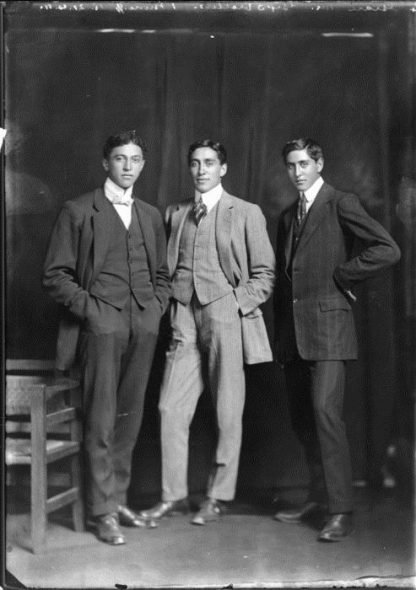Sons of Lawrence Marshall Grace and Te Kahui Grace. Photograph taken in 1911 by S P Andrew Ltd. From left: Haami, Lawrence, Richard. Photo courtesy of Alexander Turnbull Library.  http://natlib.govt.nz/records/23135461