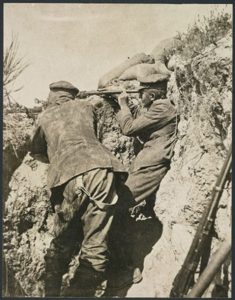 Sniping teams worked in pairs, one on the rifle and the other on the spotting telescope.Gresson, Kenneth MacFarlane, 1891-1974: Photographs of the Gallipoli campaign in Turkey during World War One.