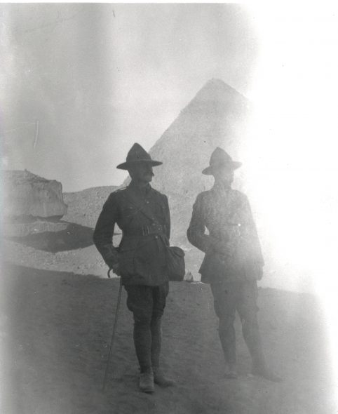 New Zealand soldiers sightseeing at the pyramids, Egypt, Boxing Day, 1914. Photograph by William Malone. Malone Family Collection, England