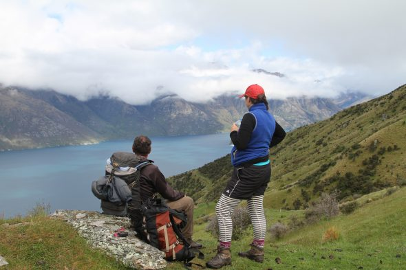 Great views from the office today: Mike Thorsen and Heidi Meudt above Lake Wakatipu during our Hector Range tramp. Photo by Ant Kusabs © Te Papa.