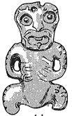 Drawing of hei tiki with upright head from Ruapekapeka, Northland. From Skinner 1932.