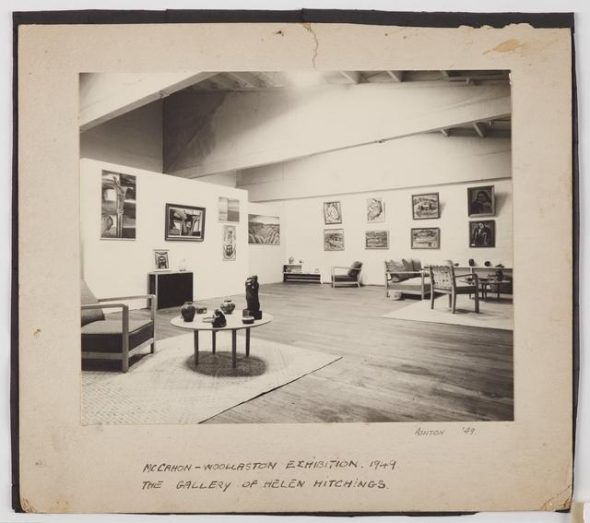 'Photograph of the McCahon-Woollaston Exhibition', 1949, Wellington, by John Ashton. Te Papa (CA000124/001/0053)