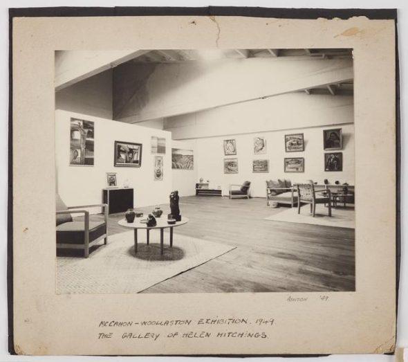 'Photograph of the McCahon-Woollaston Exhibition', 1949, Wellington, by John Ashton. Te Papa (CA000124/001/0053)