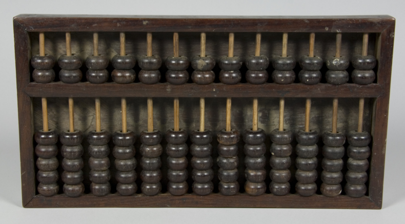 Abacus, circa 1900, China, maker unknown. Gift of Graham Sinclair, 1995. CC BY-NC-ND licence. Te Papa (GH004352)