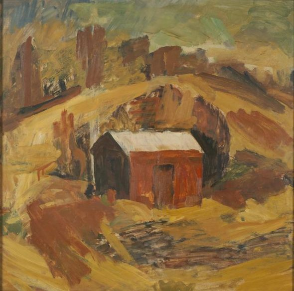 'The red shed, Jackson's orchard, Mahana', 1943/48, Nelson Bays, by Sir Mountford Tosswill Woollaston. Gift of Mrs M A Hall-Kenney, 1968. Te Papa (1968-0011-1)
