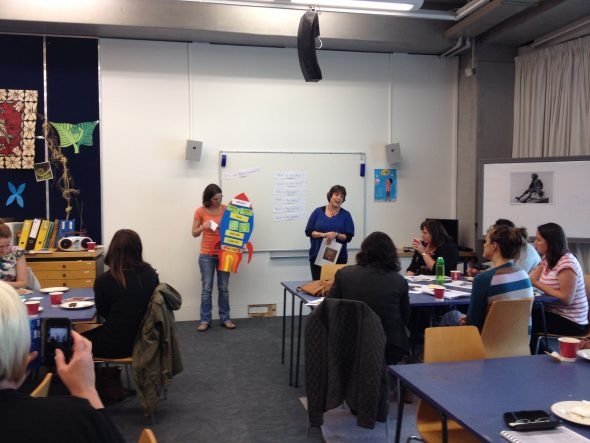 Amy Burgess and Judith Urry introducing their enquiry 'rocket' approach to learning. Photo Helen Lloyd © Te Papa.