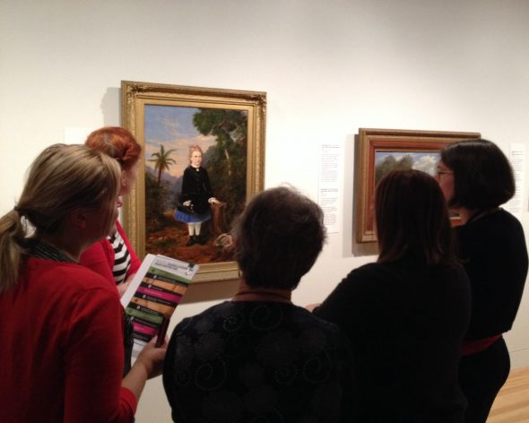 Teachers participating in visual language activity: listen to a painting. Photo Helen Lloyd © Te Papa.