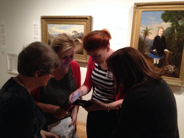 Teachers taking part in visual language activity: kids audio guide. Photo Helen Lloyd © Te Papa.