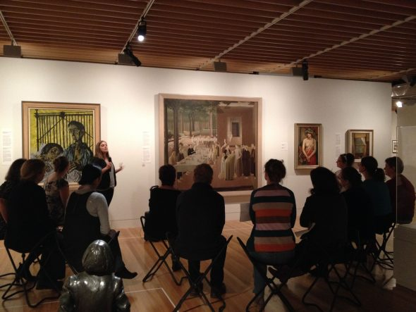 Dr Chelsea Nichols talking to teachers in Nga Toi / Arts Te Papa. Photo Helen Lloyd © Te Papa.