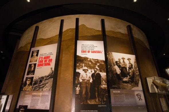 Example of wall treatment in the exhibition. Photo by Norm Heke, Te Papa.