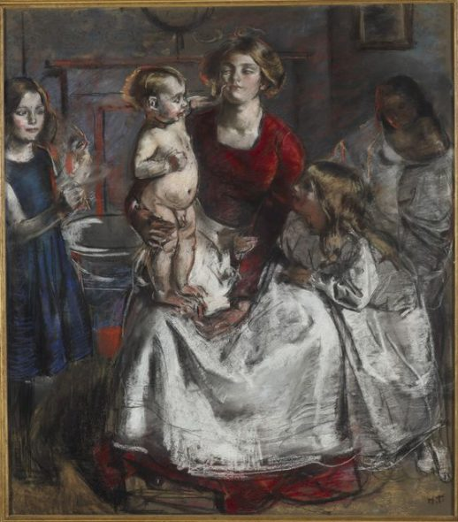 A chalk study entitled 'The baby's bath' by Henry Tonks