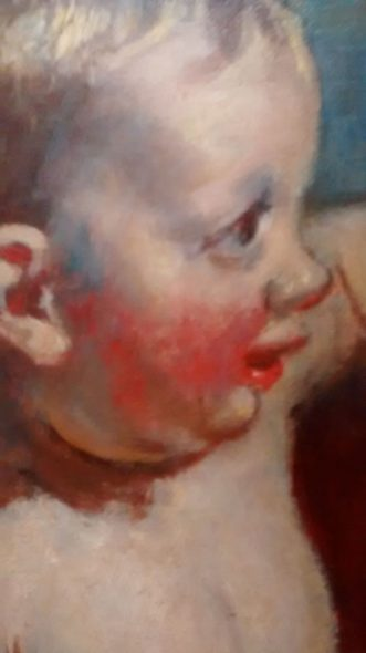 Detail of baby's face in Henry Tonks' painting 'After the bath'