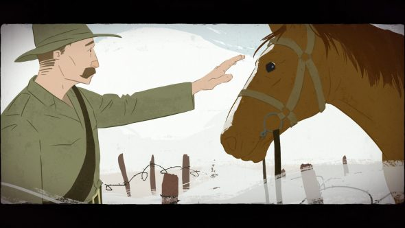 Illustration of Pynson Wilmott Mossman and his horse by Tim Gibson.