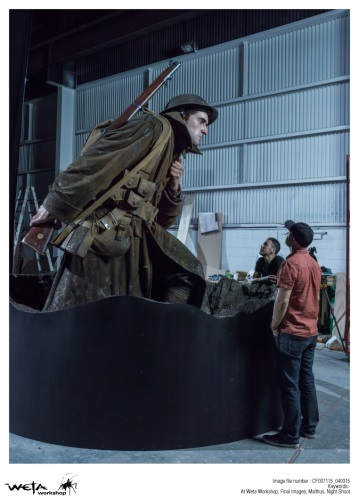 The large scale model of Sergeant Cecil Malthus nearing completion. Photo credit Weta Workshop.