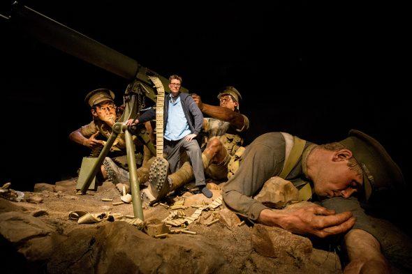 Weta Workshop's Sir Richard Taylor with the machine gunners trio. Photo by Michael Hall, Te Papa